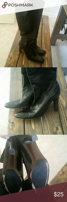Black Leather Well Worn Cole Haan Knee Length Boot Size 8 pull on leather boot with plenty of wear left.  Soles are scuffed but have plenty of life left.  Boots have slight scuffs from normal wear. Cole Haan Shoes Heeled Boots