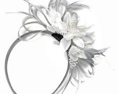 9cfbc75e64107 Caprilite Grey Silver Fascinator on Headband AliceBand UK Wedding Ascot  Races Loop