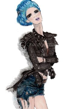 blue haired illustration