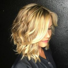 long angled haircut with bangs | 40 Gorgeous Wavy Bob Hairstyles with An Extra Touch of Femininity