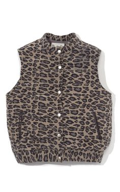 Shop Leopard Silk Puffer Vest In Grey. This quilted leopard-print puffer vest from Sea features slash front pockets Snap button fastenings silk Self-lined Made in New York City Please note: This item is returnable for Vest Coat, Puffer Vest, Cool Things To Buy, Sea, My Style, Jackets, Clothes, Shopping, Accessories