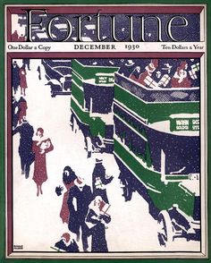 Fortune - December, 1930.  Christmas shoppers on a snowy city sidewalk, open-top double-decker buses beside them.
