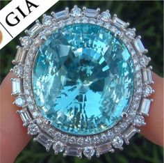 GIA Estate 68.07 ct VVS1 Natural Aquamarine Diamond 14k White Gold Vintage Ring #CustomMadeWorldsLargestKnown #SolitairewithAccents