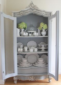La Vie en Rose: Armoire painted in Chalk Paint® decorative paint by Annie Sloan in Paris Grey and Louis Blue mix.