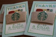 """Thanks a latte for all you do"" Starbucks Card - Creative Teacher Appreciation Gifts (great for back to school) 5 Gifts, Craft Gifts, Cute Gifts, Small Gifts, Work Gifts, Easy Gifts, Thanks A Latte, Apreciação Do Professor, Do It Yourself Inspiration"