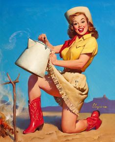"""Cowgirl Pinups - Overall size 8.5"""" x 11""""--Giclee Glossy Prints-Free Shipping USA. $9.99, via Etsy."""