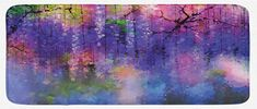 Lunarable Flower Kitchen Mat, Misty Vogue Wisteria Back Tree Branches Defocus Mysterious Scenes from Nature Print, Plush Decorative Kithcen Mat with Non Slip Backing, 47 W X 19 L Inches, Violet Pink