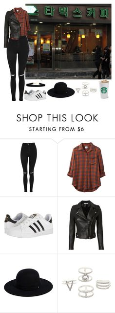 """""""Starbucks in South Korea"""" by chap15906248 ❤ liked on Polyvore featuring Topshop, RVCA, adidas, IRO, Siggi and Charlotte Russe"""