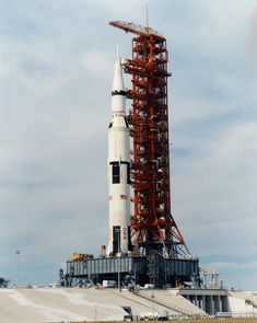 KSC-70PC-675 ( 124k or 960k ) Apollo 14 Saturn V on the pad following rollout. 9 November 1970. Scan by J. L. Pickering / Kipp Teague.