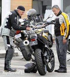 Harrison Ford going over his BMW R1200GS