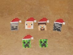 Set of 8 Perler Christmas Minecraft Characters and Tools perler beads by Minecraft Crafts, Minecraft Party, Minecraft Tree, Minecraft Perler, Minecraft Pattern, Diy Christmas Gifts, Christmas Ornaments, Minecraft Characters, Fusion Beads