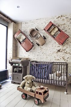 Vintage nursery - love the cars! #kidsroom #childrensroom