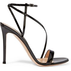 Gianvito Rossi Patent-leather sandals ($640) ❤ liked on Polyvore featuring shoes, sandals, heels, sapatos, ankle strap heel sandals, strap sandals, black ankle strap sandals, heeled sandals and strappy heeled sandals