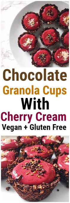 Chocolate Granola Cups with Cherry Cream | #granolacups #healthy #healthyrecipe #healthybreakfast #healthydessert #healthydessert #cherry #vegan #oats #glutenfree #plantbased #chocolate #cacao