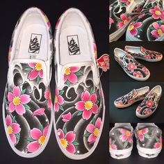 custom vans shoes cherry blossom/japanese water by TheDifferents