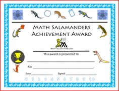 Salamander Math - a free resource for math worksheets from K-5.