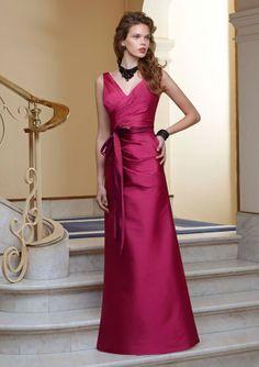 Mori Lee Angelina Faccenda 20368 Silky Taffeta V-neck gown with tie sash. #timelesstreasure