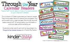 FREE! Headers for your classroom calendar