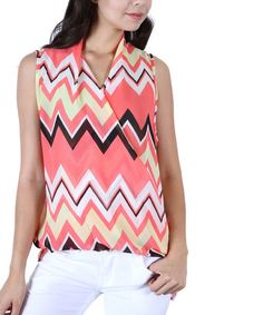 This Coral & Yellow Chevron Surplice Hi-Low Top by Collective Rack is perfect! #zulilyfinds