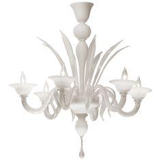 Italian Opaline Murano Glass Chandelier