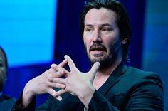 """Keanu Reeves at the Beverly Hilton Hotel, talking about his documentary, """"Side by Side,"""" airing Aug. 30 on PBS."""