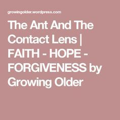 The Ant And The Contact Lens | FAITH - HOPE - FORGIVENESS by Growing Older