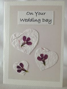 Hand Pressed Lobelia and Hearts Wedding Day Card £4.50
