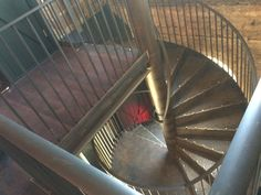 Industrial look spiral staircase