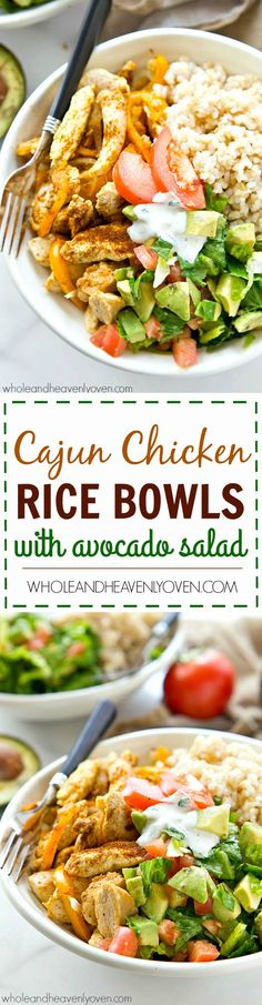 Zippy cajun-rubbed chicken, hot rice, and an amazing fresh avocado salad come together in these beautiful AND easy-to-throw together healthy rice bowls! Minus the avocado Cajun Chicken And Rice, Chicken Rice Bowls, Chicken Milk, Chicken Alfredo, Healthy Rice, Healthy Eating, Healthy Food, Yummy Food, Tasty