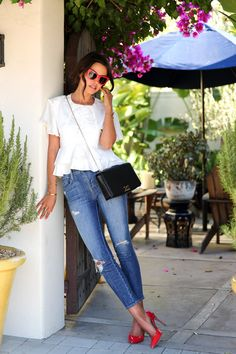 Skinny Blue Jeans, White Crop Top & Red Pumps