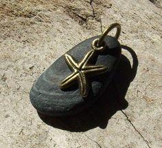 Black Beach Stone and Starfish Pendant PEN79 by KreationsfromKaos, $12.00
