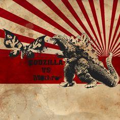 Godzilla vs Mothra by muetzeone on DeviantArt Sunrise Tattoo, Godzilla Vs, Classic Monsters, Enjoying The Sun, King Kong, Body Mods, Japanese Culture, Pop Culture, Beast