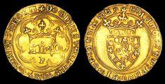 ESCUDO - D. Afonso V - O Escudo foi o nome dado a algumas moedas em cuja figuração aparecia o escudo de armas. As primeiras moedas portuguesas de Escudo foram muito provavelmente inspiradas na moeda medieval de ouro francesa, cunhada em 1266 pelo rei Luís IX, com o mesmo nome. Os primeiros escudos de ouro foram cunhados no reinado de D. Duarte, infelizmente nenhum desses exemplares chegou até aos nossos dias.