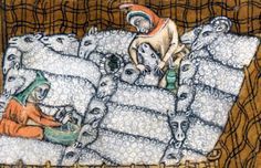milking sheep Luttrell Psalter, England ca. British Library, Add I cant add anything funnier the pic it self but separating them from the herd might have been a good idea Medieval Life, Medieval Art, Medieval Books, Illuminated Letters, Illuminated Manuscript, Medieval Peasant, Medieval Crafts, Early Middle Ages, Book Of Hours