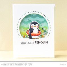 Penguins in Paradise stamp set and Die-namics, Circle STAX Set 1 Die-namics, Stitchable Dot Circle STAX Die-namics, Waves Stencil - Torico #mftstamps