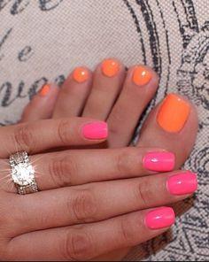 Orange Toe Nails And Pink Finger