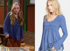 """Maya Hart (Sabrina Carpenter) wears this Blue loose button down lace detailed blouse in this episode of Girl Meets World, """"Girl Meets [...]"""