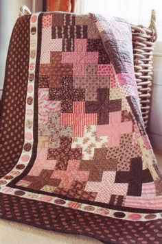 """Love pink and brown together. This is called Penny Quilt by Pam & Nicky Lintott from the book """"Jelly Roll Dreams"""". Jellyroll Quilts, Scrappy Quilts, Bargello Quilts, Sampler Quilts, Quilt Baby, Quilting Tutorials, Quilting Designs, Patchwork Designs, Quilting Ideas"""