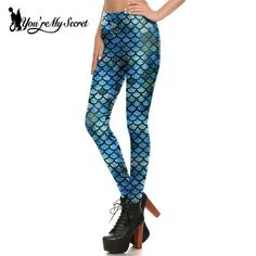 3465cd9a34480 [You're My Secret] New Fashion Fish Scale Sexy Blue Mermaid Women Leggings