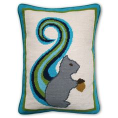 Modern Throw Pillows | Squirrel Wool Needlepoint Pillow | Jonathan Adler