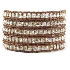 Chan Luu - Golden Shadow Crystal Wrap Bracelet on Natural Brown Leather, $240.00 (http://www.chanluu.com/wrap-bracelets/golden-shadow-crystal-wrap-bracelet-on-natural-brown-leather/)