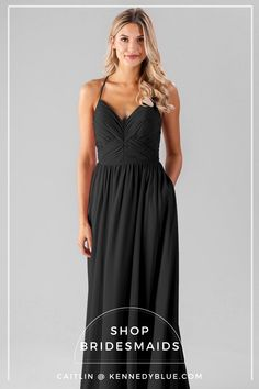 Kennedy Blue carries a variety of gorgeous black bridesmaid dresses for your big day! If you're having a black color scheme for your wedding, check out these options. Neutral Bridesmaid Dresses, Black Bridesmaids, Affordable Bridesmaid Dresses, Designer Bridesmaid Dresses, Black And Blue Dress, Party Looks, Party Fashion, Color Palettes, Dress Making