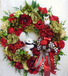 Christmas Wreath Christmas Squirrel Wreath Owl by WreathbyHH, $131.95