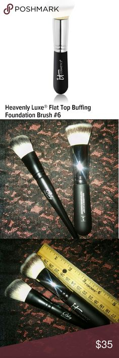 """IT COSMETICS NO. 6 FOUNDATION BUFFING BRUSH **""""IT"""" COSMETICS NO. 6 HEAVENLY LUXE  FLAT TOP BUFFING FOUNDATION BRUSH W/ AN ANGLED CONTOUR BRUSH BY """"BLY""""**  **GIVES AN AIR BRUSH FINISH**  **BRAND NEW NEVER USED**  ***GREAT QUALITY***  **3RD PIC SHOWS THE LENGTH OF THE BRUSHES WITH A RULER***  ***Price is FAIR and FIRM***  Also check my closet for: Kylie Jenner Lip Kits Highlight/Bronzers/Tinted Moisturizers Variety of Matte Liquid Lipsticks Lip Liners/Pencils Eye/Dip Brow Pomade And Much Much…"""