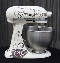 How cute is that to decorate your KitchenAid Mixer! Kitchen Mixer Graphics Coffee by FlipFlopGraphics on Etsy,