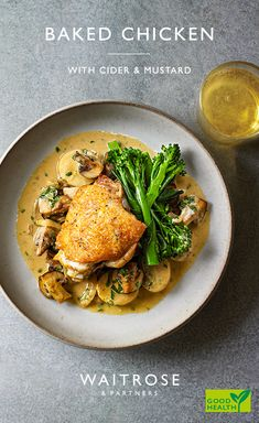 Succulent chicken in a creamy cider and mustard. Tip: Add some thyme sprigs to the onions and potatoes for extra flavour. Duck Recipes, Meat Recipes, Chicken Recipes, Dinner Recipes, Cooking Recipes, Healthy Recipes, Recipies, Waitrose Food, Baked Chicken