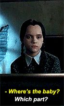 Scaring the new nanny, Wednesday Addams from The Addam's Family Values
