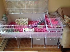 I hate the look of the interior, but this would be a great way to build a ferret cage with storage.