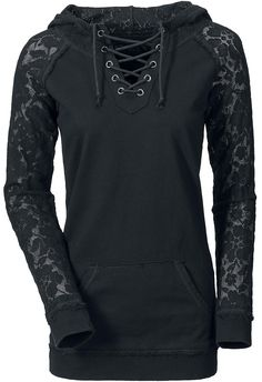 black hoodie with lace sleeves.