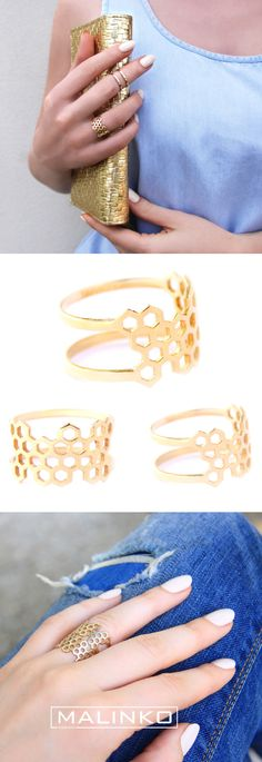 3D printed honeycomb minimalist double-sided gold ring | jewellery design | accessories | fashion | Etsy | Australian design | product design | object design | 3D printing